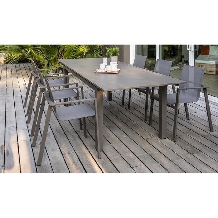 Salon de jardin aluminium sable 6 fauteuils Zahara - Achat ...