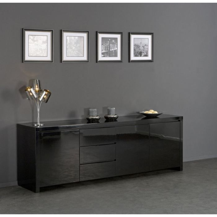 buffet design laqu noir 3 portes 3 tiroirs achat. Black Bedroom Furniture Sets. Home Design Ideas