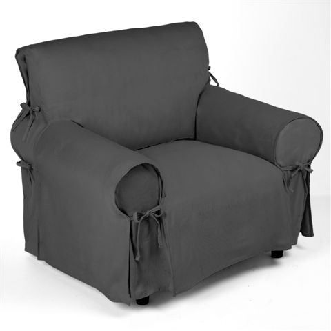 housse de fauteuil gris finition nouettes achat. Black Bedroom Furniture Sets. Home Design Ideas