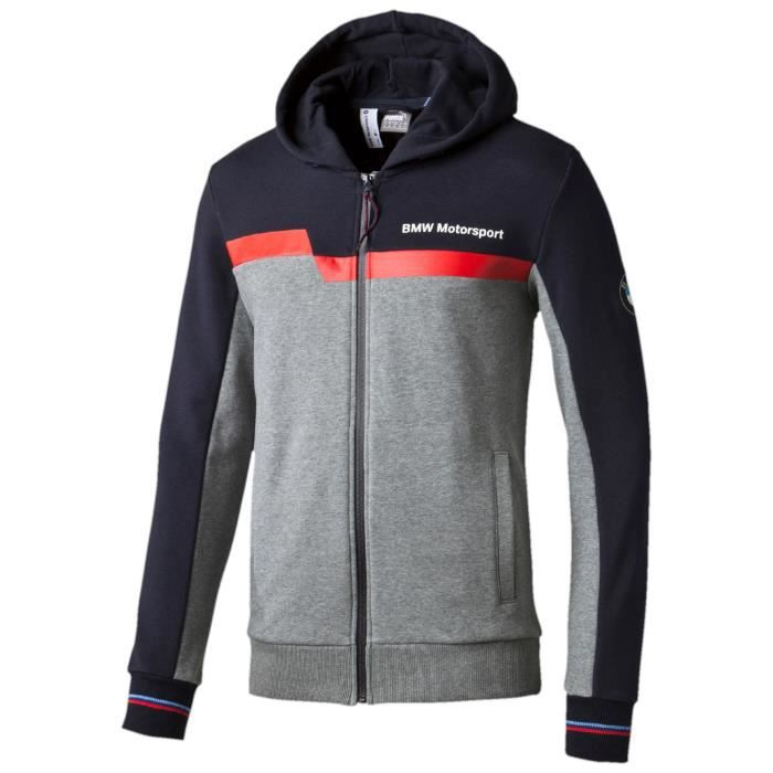 puma bmw motorsport hooded sweat jacket gris achat vente veste cdiscount. Black Bedroom Furniture Sets. Home Design Ideas