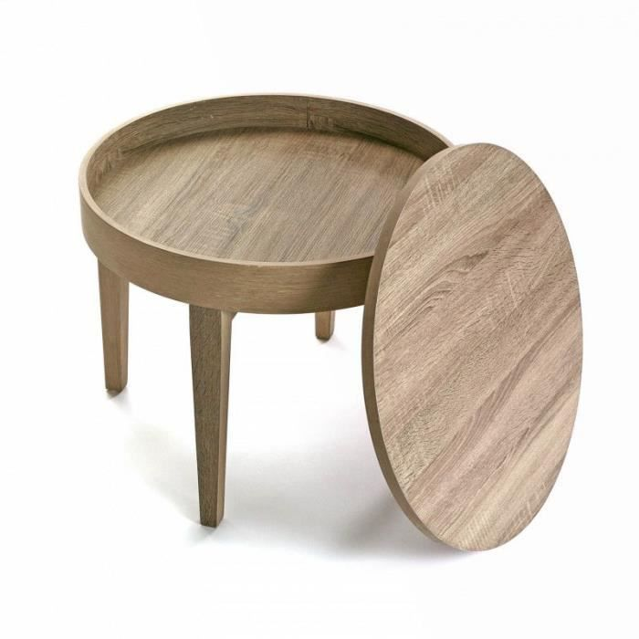 table basse d 39 appoint en bois ronde taille d 55 x h 45 cm achat vente table basse table. Black Bedroom Furniture Sets. Home Design Ideas