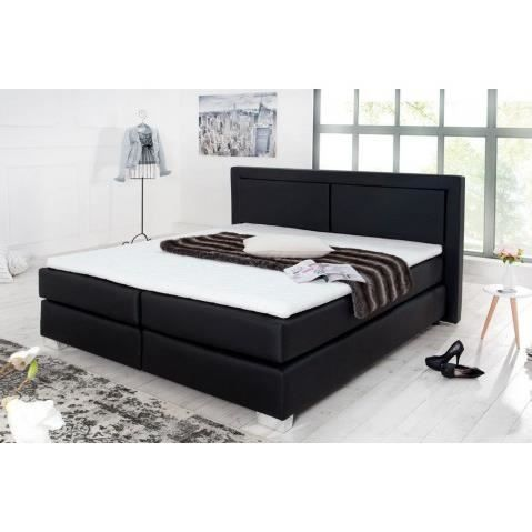 lit design noir avec tete de lit capitonnee hotel 180x200 cm achat vente structure de lit. Black Bedroom Furniture Sets. Home Design Ideas