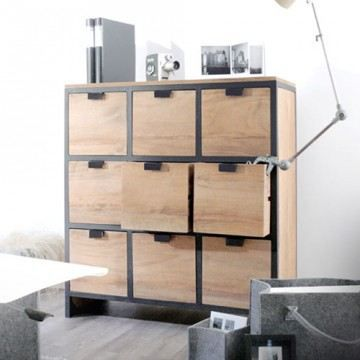 commode meuble de rangement chambre teck teak t achat vente commode de chambre commode en. Black Bedroom Furniture Sets. Home Design Ideas