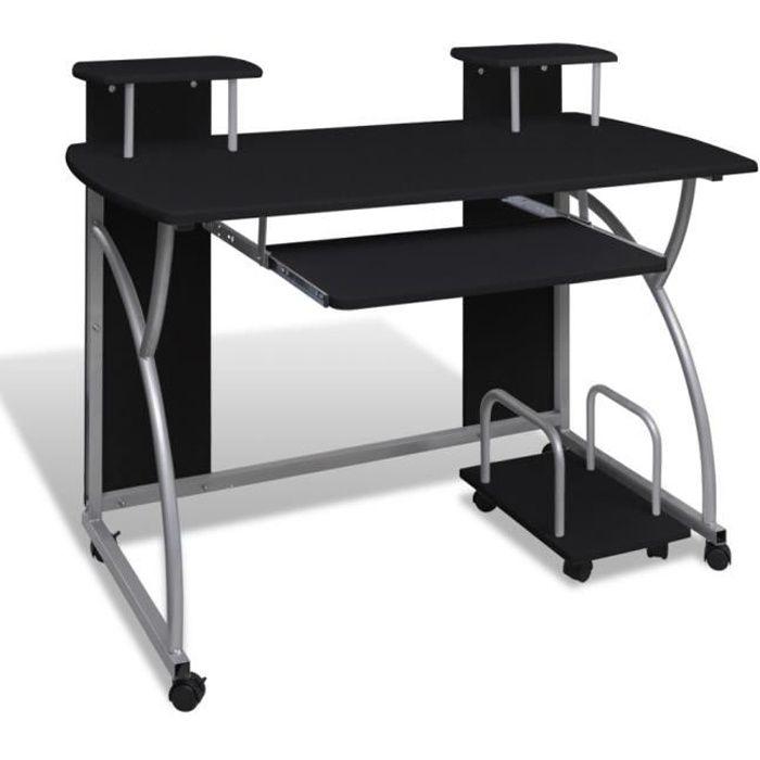 MEUBLE INFORMATIQUE Table de bureau noire pour ordinateur