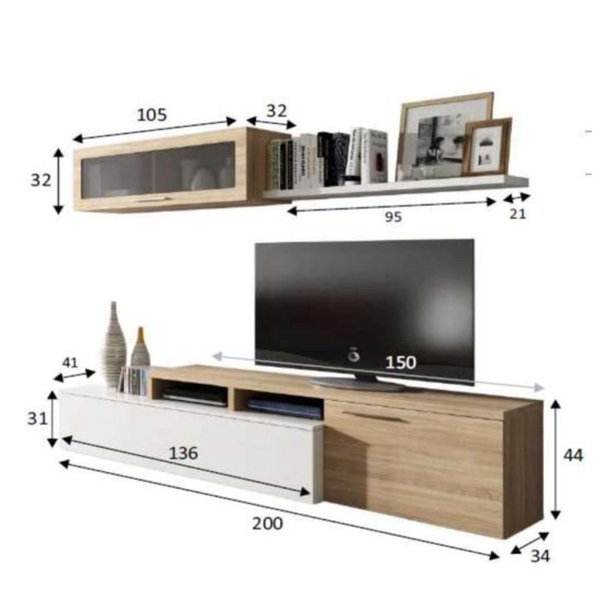 Meuble Tv Angle Bas ensemble meuble télé d'angle ou droit nexia bois et blanc