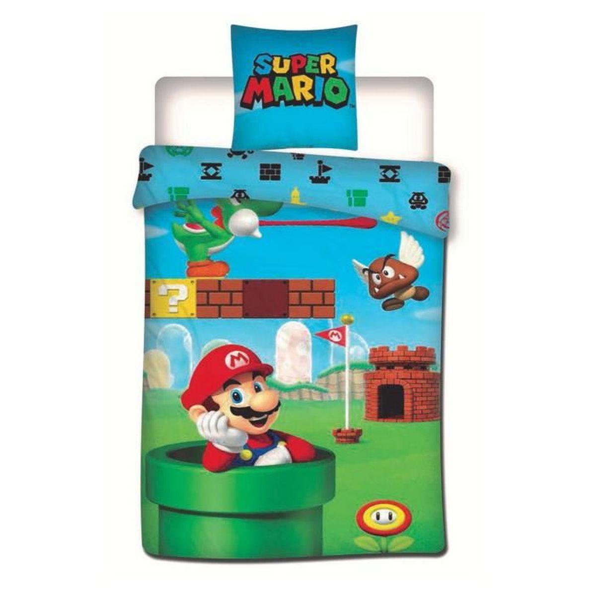 HOUSSE DE COUETTE ET TAIES Super Mario - Parure de couette 140x200 + taie d'o