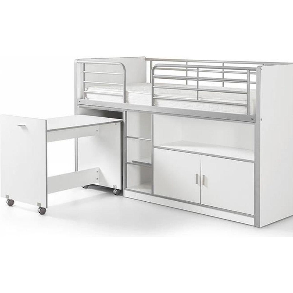 Lit Mezzanine Avec Rangement Pas Cher vipack lit mezzanine + bureau + rangement 90x 200 bonny blanc