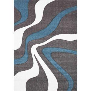 TAPIS NAZAR Tapis de salon Diamond turquoise, gris et bl