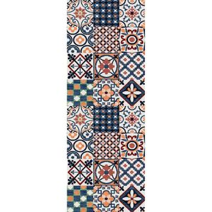 utopia tapis de couloir carreaux de ciment 67x180 cm orange bleu et blanc achat vente tapis. Black Bedroom Furniture Sets. Home Design Ideas