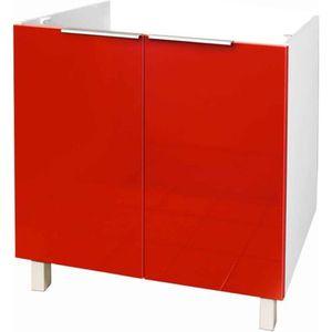 ELEMENTS BAS Meuble de cuisine bas sous évier - 80cm - Rouge -
