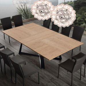 TABLE À MANGER SEULE Table extensible 10 personnes en bois et métal WAR