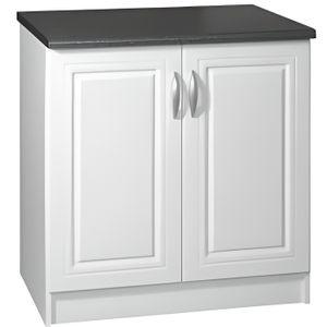 ELEMENTS BAS Meuble cuisine bas 80 cm 2 portes DINA blanc