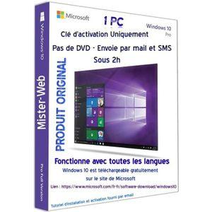 CLÉ USB Clé licence Win10Pro 32-64 bits envoyé par mail Pa