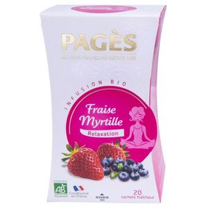 THÉ Pages Infusion Relaxation Fraise Myrtille Bio 20 s
