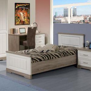 LIT COMPLET Cadre de lit + Tête de lit 90*190 - TIVA - L 90 x
