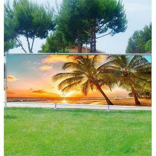 balcon ou terrasse Palmiers 9102 Brise vue déco imprimé pour jardin