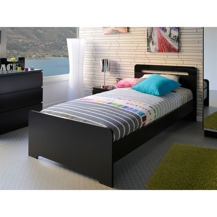 star lit enfant 90x190 cm noir achat vente lit mezzanine star lit 90x190 cm noir panneaux de. Black Bedroom Furniture Sets. Home Design Ideas
