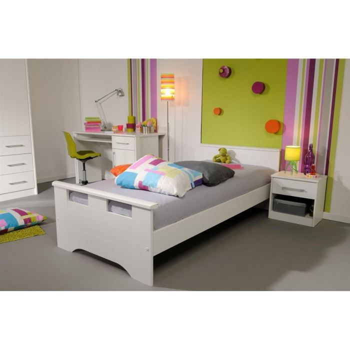 white lit enfant 90 x 200 cm achat vente structure de lit white lit enfant panneau de. Black Bedroom Furniture Sets. Home Design Ideas