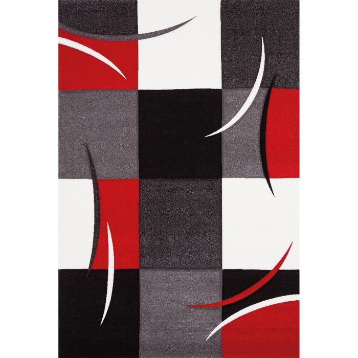 Diamond tapis de salon 200x290 cm rouge gris noir et for Salon noir et blanc moderne
