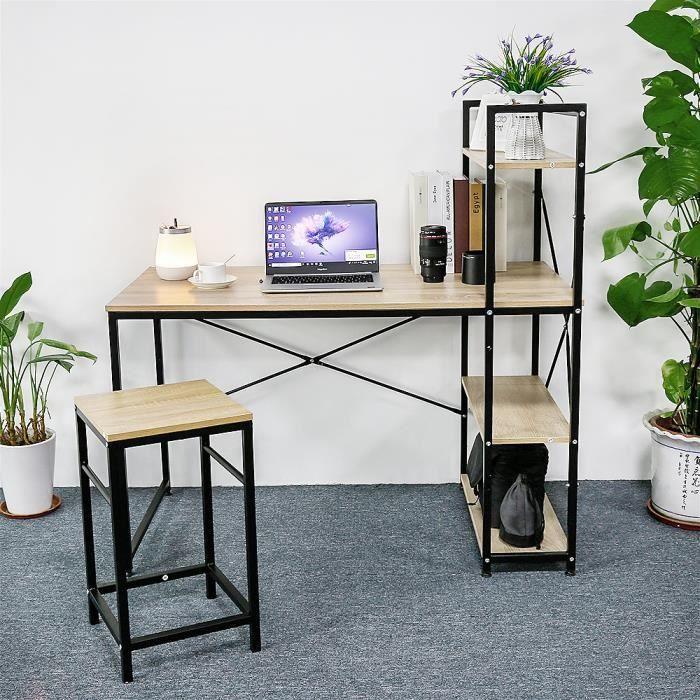 YIS Table de bureau Bureau d'ordinateur en Bois et Métal, Bibliothèque - Design Industriel - Chêne clair 120 x 64 x 121 cm