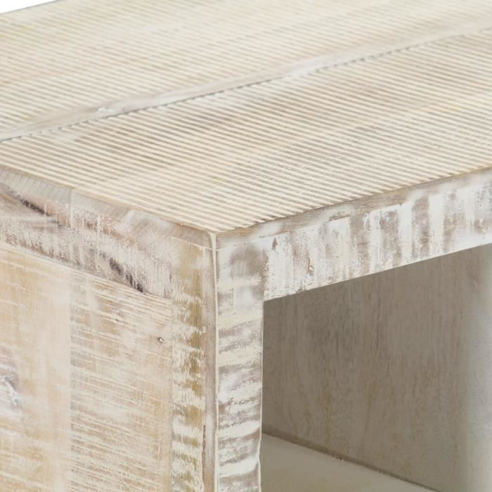 Table basse Blanc 110x50x40 cm Bois de manguier massif -Blanc -MOO