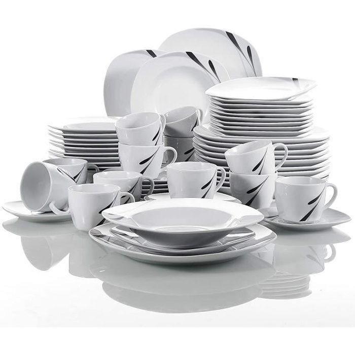 VEWEET, série 'Karla', Service à dîner en porcelaine 60 pièces, service combiné blanc, service à café pour 12 personnes