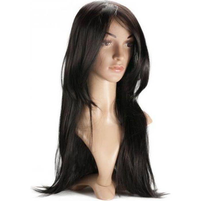 Perruque Cheveux Bruns Longs Raides Dégradés