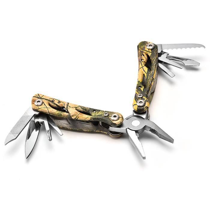Pince Multifonction Acier Inoxydable Multi Usage Couteau Suisse Militaire avec Poignée Ergonomique 9 en 1