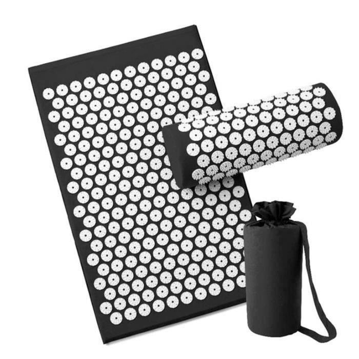 Letouch Tapis de yoga pour relaxation musculaire, tapis de massage sportif, tapis d'acupuncture avec oreiller et sac (Noir)