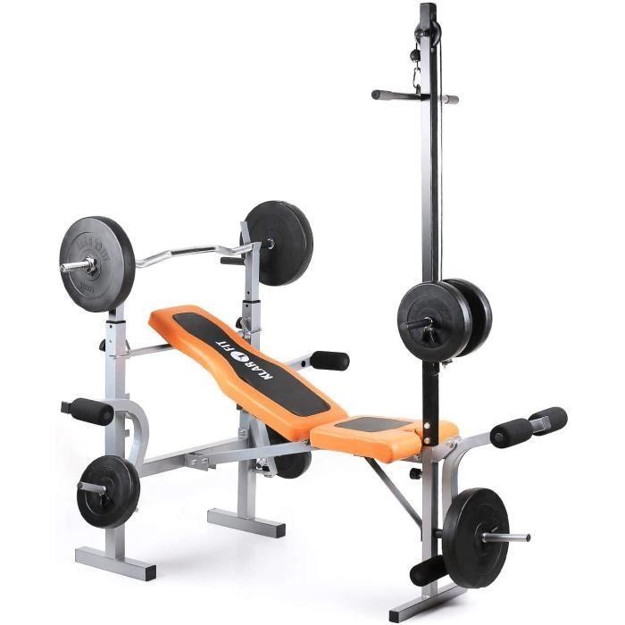 Klarfit Ultimate Gym 3500 Banc de musculation complet (curler pour bras et jambes, barre latissimus et support pour haltère, sup10