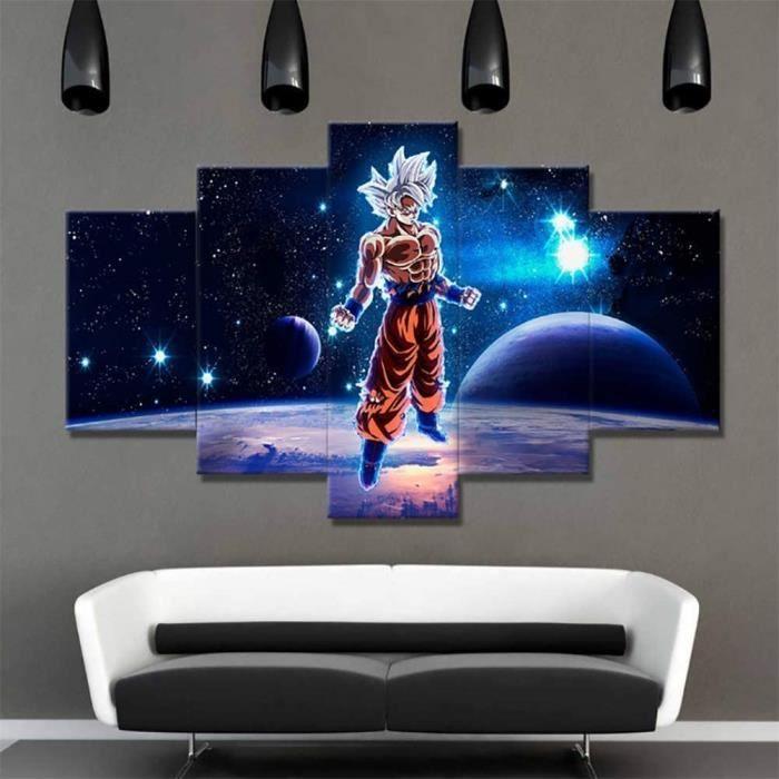 5 Pièces Dessin Animé Dragon Ball Z Goku Peintures HD Prints Super Saiyan Affiche Toile Mur Art Photos Salon Décor,B,10x15x2+1[199]
