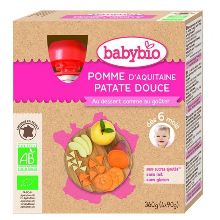 Gourde x4 pomme, patate, douce 4x90gr - Babybio