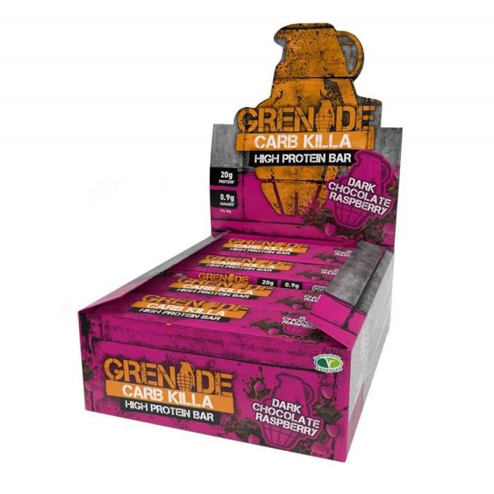 Grenade Carb Killa High Protein And Low Carb Barre Nutritive, 12 x 60 g - Raspberry & Dark Chocolate - 2000-10-90-00