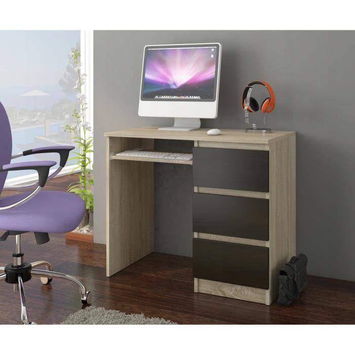 YORK R- Bureau moderne informatique d'ordinateur 96x50x76 - Chambre Ado-Enfant - Support clavier - Sonoma Wengé