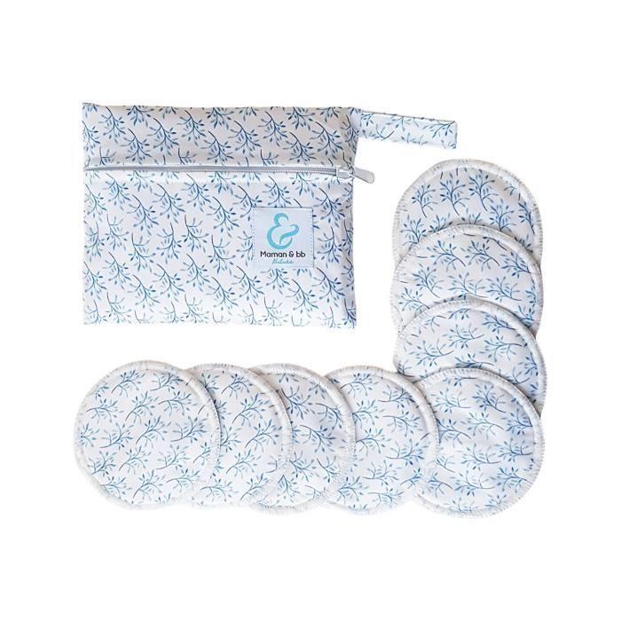 Lot de 8 Coussinets d'allaitement lavables en bambou + pochette de rangement - 10 cm - Santorini