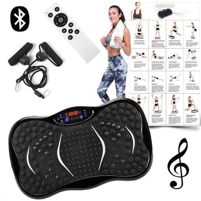 Plateforme Vibrante Mixte Pour Musculation et Perte de Poids 200W 5 Programmes,Télécommande+2 Bandes,Haut-Parleurs Bluetooth,Musique