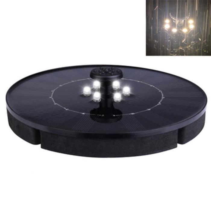 Pompe Fontaine avec- Panneau Solaire LED Imperméable 2,4W Mini Pulvérisateur À Eau Flottante pour Jardin - blanc chaud