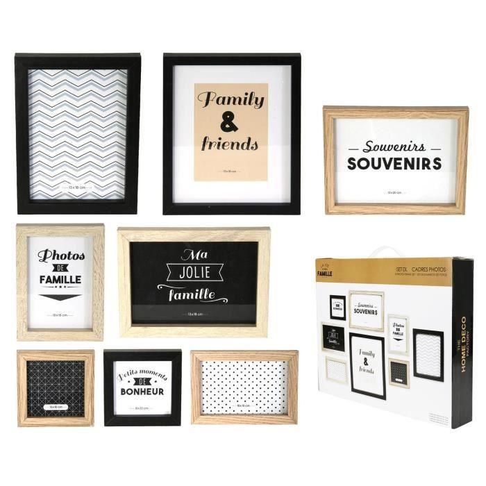 Set de 8 Cadres photos en bois noir-blanc-marron 6 x 4 cm