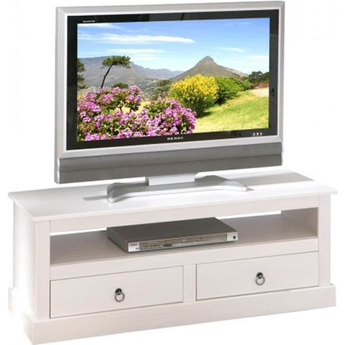 Meuble TV design blanc en bois massif - Dim : L 118 x H 45 x P 39 cm