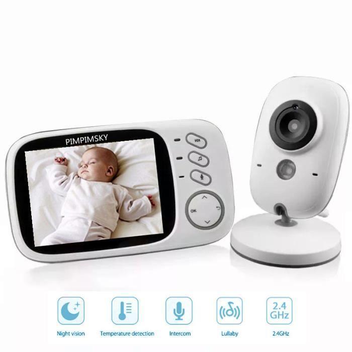 Bébé Moniteur Babyphone Vidéo 3.2 Inches LCD Couleur Caméra Bébé Surveillance 2.4 GHz Communication Bidirectionnelle Vision