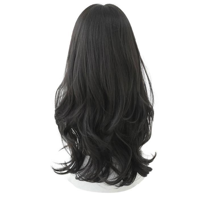 Mignon Perruques Avec Bangs longue et profonde vague bouclée Omber couche cheveux résistant à la chaleur 60CM Noir