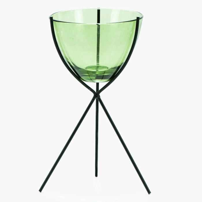 Photophore vert en verre sur pieds en métal noir - H22,5 cm