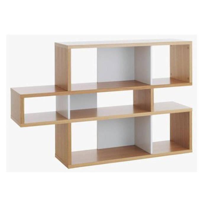 LONDON bibliothèque design 3 niveaux chêne avec fonds blancs marron bois Inside75