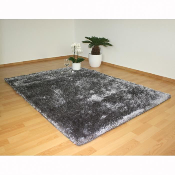 tapis shaggy gris 80 x 150 cm achat vente tapis cdiscount. Black Bedroom Furniture Sets. Home Design Ideas