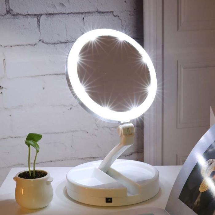 Mondpalast @ Miroir cosm/étique Maquillage Lumineux /éclair/é Lumineux Triple Pliant Miroir de Maquillage /éclair/é avec 16 LED Lampes pour Voyager ou sur Une Table Miroir Chambre Salle de Bains