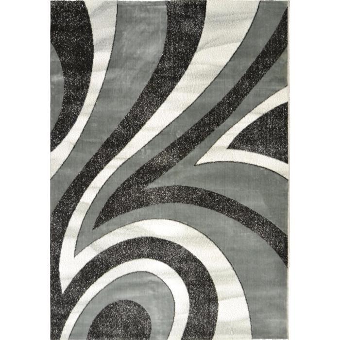 TAPIS BAHIA Tapis de salon 200x290 cm gris, noir et blan