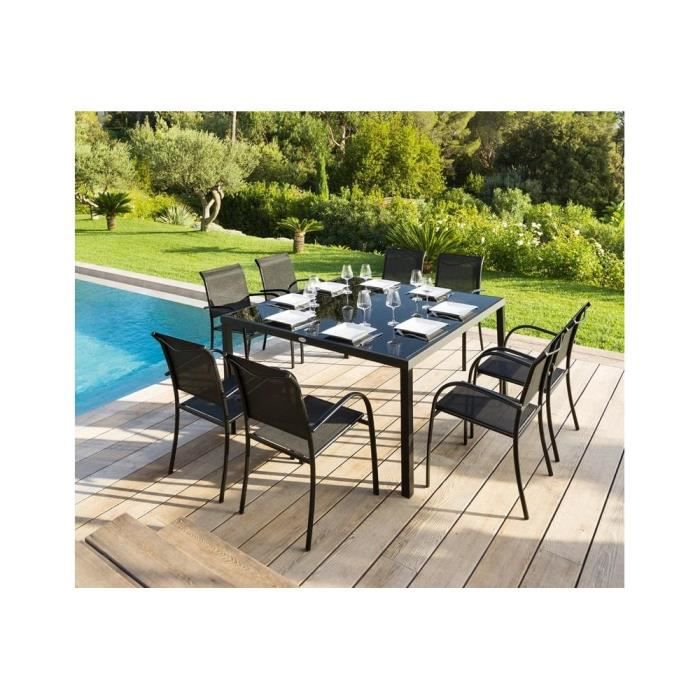 Table montezalo carree noir hesperide achat vente table de jardin table m - Table carree 8 couverts ...