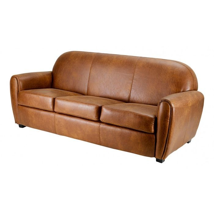 Canap club 3 places aspect cuir vieilli inwood achat vente canap sofa - Canape club cuir vieilli ...