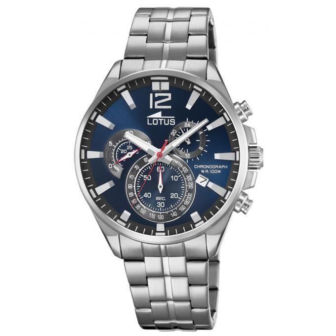 Bleu Montre Homme Acier Inoxydable Date 101363 Cadran Lotus Quartz Bracelet Chronographe PuTkiXOZ