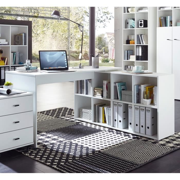 bureau d 39 angle contemporain avec rangement coloris blanc monty achat vente bureau bureau d. Black Bedroom Furniture Sets. Home Design Ideas